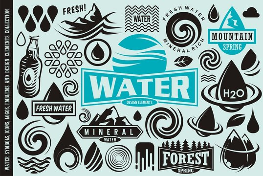 Water design elements collection. Water drops icons, symbols, logos, emblems and badges vector set.