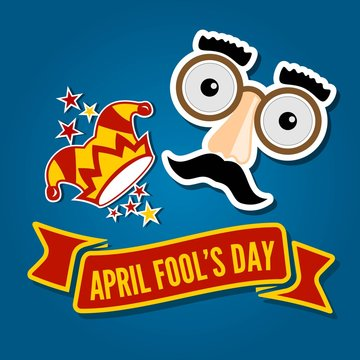 April Fools Day card with Jester Hat and Funny Glasses. Vector illustration