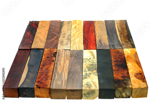 Set Exotic wood real for blanks pen and diy on white background