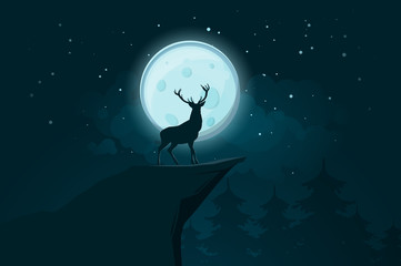 Deer silhouette on the full moon background