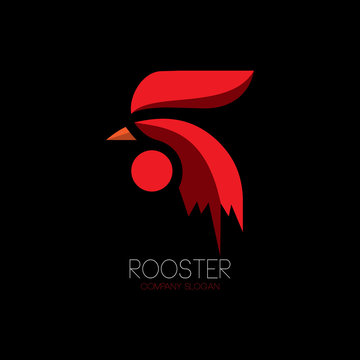 Abstract red rooster logo