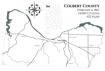 Large and detailed map of Colbert county in Alabama, USA