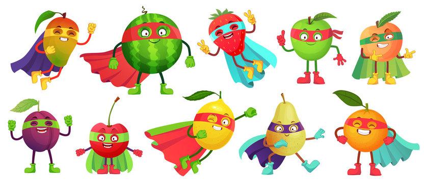 Superhero fruit. Super apple, berry and orange in hero cloak costume. Garden superheroes healthy food cartoon vector illustration set