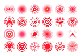 Red pain circle. Painful target mark, pain area circles and sore throat therapy remedy isolated vector set - fototapety na wymiar