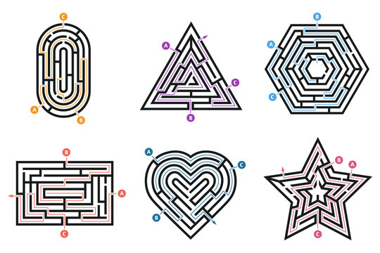 Labyrinth conundrum. Searching way, many ways directions maze and labyrinths child game isolated vector set
