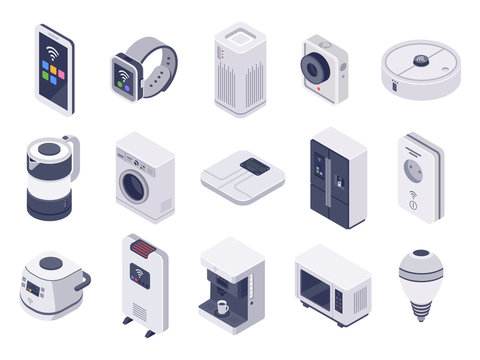 Isometric internet of things devices. Smart watch, household appliances and wireless controlled microwave 3d vector illustration set