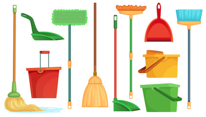 Housework broom and mop. Sweeper brooms, home cleaning mops and cleanup broom with dustpan isolated cartoon vector illustration set