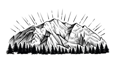 Mountain vector vintage illustration. Engraving rock chains landscape with peak and forest.