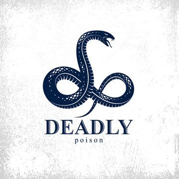 Snake vector logo emblem or tattoo, deadly poison dangerous serpent, venom aggressive predator reptile animal vintage style illustration.