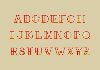Custom letters alphabet really good for tattoo whit yellow shade and fine line