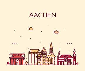 Fototapete - Aachen North Rhine Westphalia Germany vector line