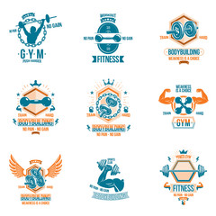 Set of vector cross fit and fitness theme emblems and motivational posters created with dumbbells, barbells, kettle bells sport equipment and muscular athlete body silhouettes.