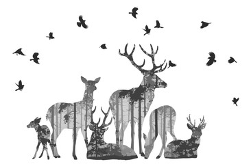 Wall Mural - herd of deer with birds