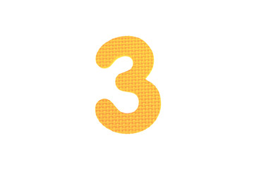Image of number three, isolated on the white background