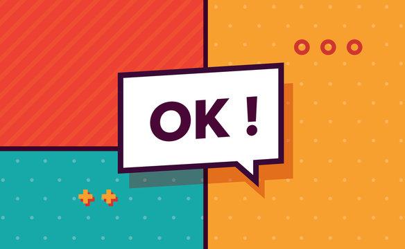 Ok in design banner. vector template for web, print, presentation