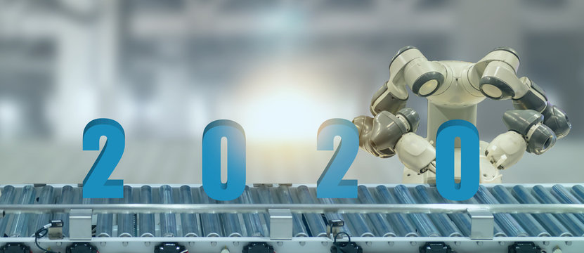 2020 year artificial intelligence or ai futuristic concept,  assistant robot try to put number of new year coming 2020 on operation line, industry 4.0 , 5.0 trend of automation robot in 2020 future