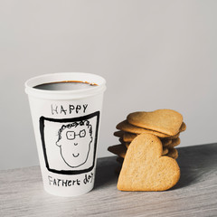 cup of coffee and text happy fathers day