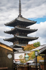 View of Yasaka Pagoda from a traditional street in Gion, Kyoto