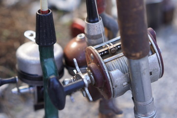 Vintage fishing reels and poles