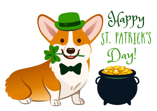 "Cute Welsh corgi dog in St. Patrick's Day costume: green bowler hat and bow tie, holding shamrock in mouth. Pot of gold filled with coins,""Happy St. Patrick's Day!"" text. Irish holiday folklore theme."
