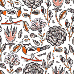 Floral seamless pattern. Hand drawn abstract creative flowers and bird with stroke. Colorful artistic background with blossom. Wallpaper, textiles, wrapping, card, print on clothes. Vector, eps10