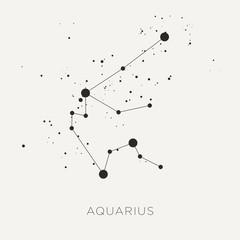 Star constellation zodiac aquarius black white vector