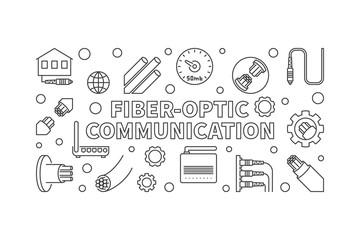 Fiber-optic Communication vector outline concept horizontal banner or illustration