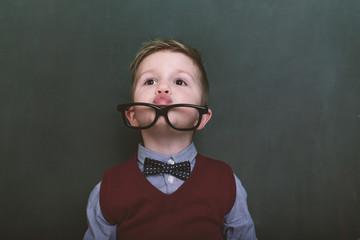 small cute schoolboy