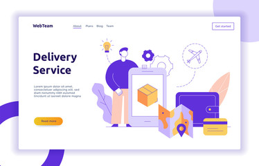 Vector delivery service design concept web banner with big modern flat line man, wallet, credit card, box, map icons. Logistics illustration with app screen on mobile device