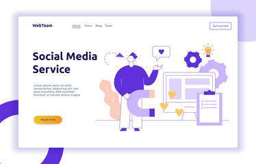 Vector advertisement and marketing social media service strategy web page banner design template with big modern flat line man. Person holding magnet and chat bubble with heart illustration.