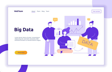 Vector big data web page banner concept  design template with big modern flat line people holding charts. Research and analytics illustration with graphs