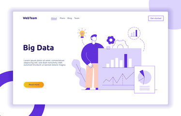 Vector big data web page banner concept  design template with big modern flat line man holding chart. Research and analytics illustration with graphs, cogs, light bulb