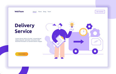 Vector delivery service design concept web banner with big modern flat line man, light bulb, truck, clock icons. Logistics worker  with check list illustration