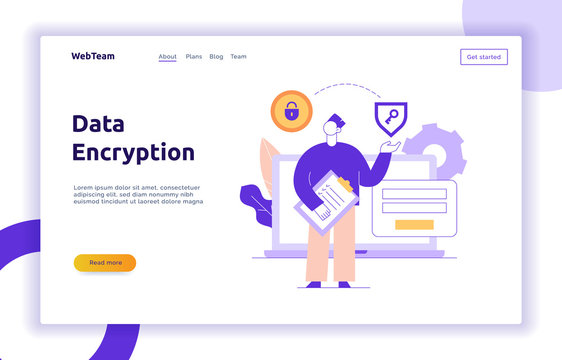 Vector data encryption web page online banner template with man holding key icon. Privacy login and sign up concept illustration