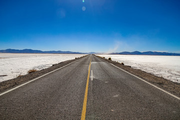View on the road and the landscape of Salt Lake, Argentina