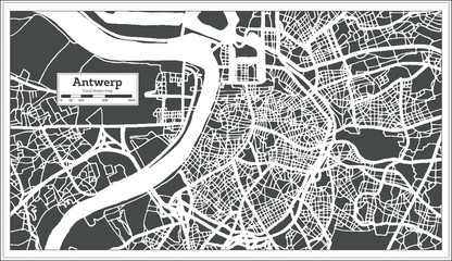 Antwerp City Map in Retro Style. Outline Map.
