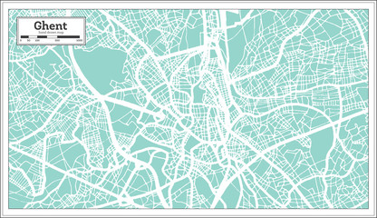 Ghent City Map in Retro Style. Outline Map.