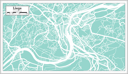 Liege City Map in Retro Style. Outline Map.