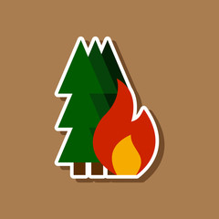 paper sticker on stylish background of forest fire
