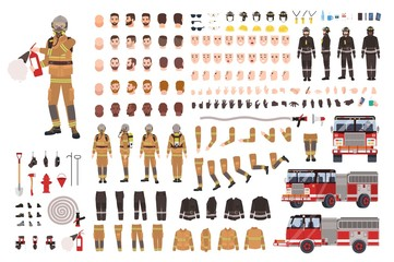 Firefighter creation set or DIY kit. Bundle of fireman body parts, facial expressions, protective clothing, equipment, fire engine isolated on white background. Flat cartoon vector illustration.
