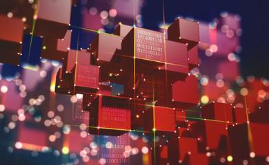 Block chain. The global architecture of the information space of the future. 3D illustration of an array of cubes with bright neon rays of light. Fotoväggar