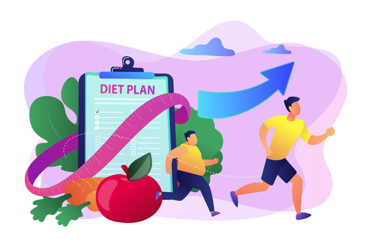 Weight loss diet concept vector illustration.