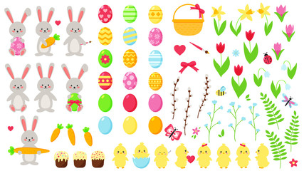 Big Easter vector set. Cute kawaii characters: rabbits and chicks. Hand drawn flat spring flowers. Easter eggs. Decoration elements.