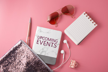 Upcoming events with pink fashion accessories