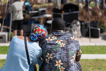 Rear View of a Young African American Couple Sitting at the Park