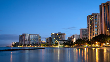 Waikiki Beach skyline at sunrise
