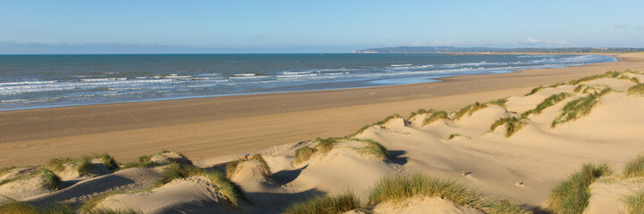 Camber Sands beach East Sussex UK panoramic view