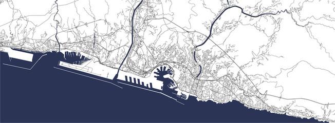 map of the city of Genova, Liguria, Italy, Europe