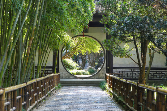 Circular gate in a chinese garden (Suzhou)