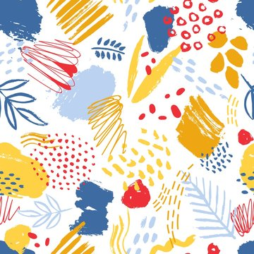 Colorful seamless pattern with paint traces, brush strokes, stains, marks, scribble and abstract leaves on white background. Vector illustration in contemporary art style for textile print, wallpaper.